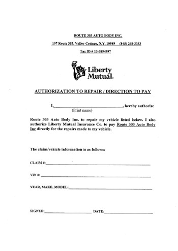 303 Auto Body -Service Forms- Valley Cottage NY 10989